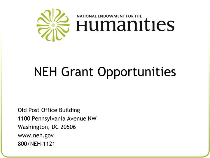 neh grant opportunities n.