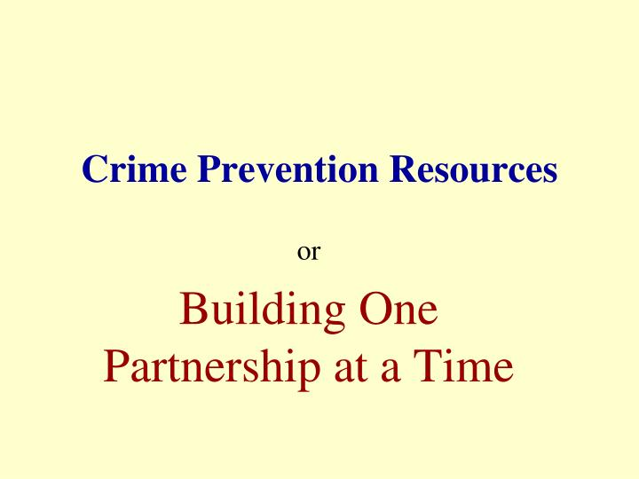 crime prevention resources n.