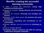 newvic creating the successful learning community