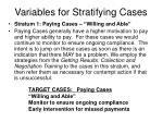 variables for stratifying cases