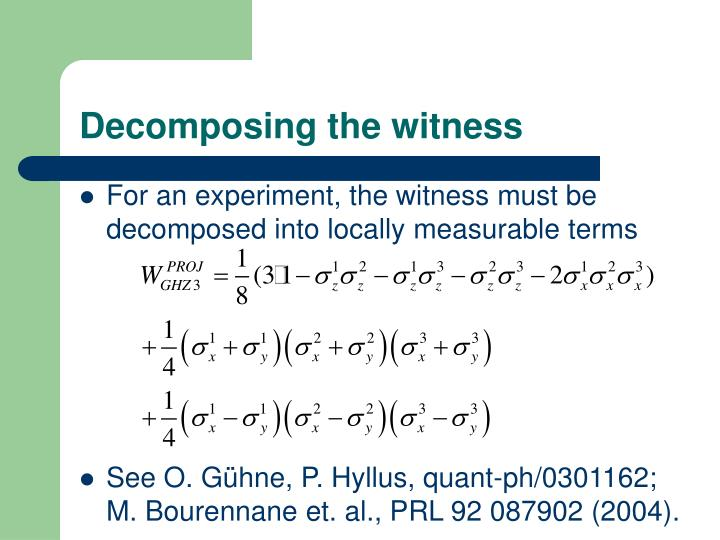 Decomposing the witness