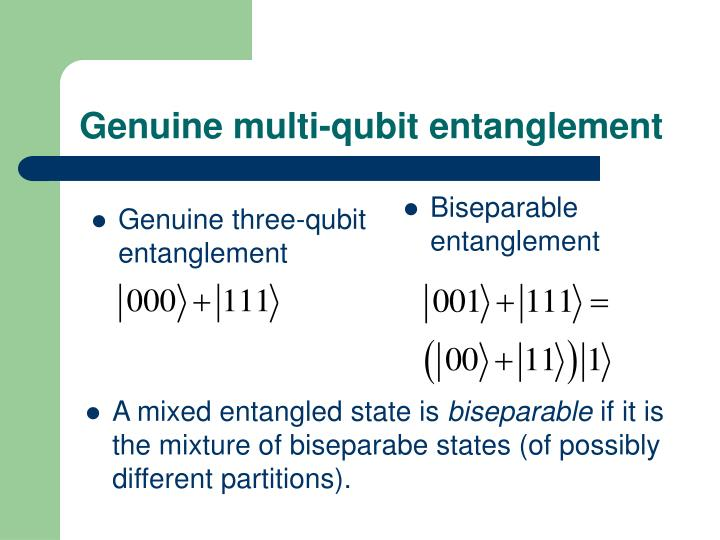 Genuine multi qubit entanglement