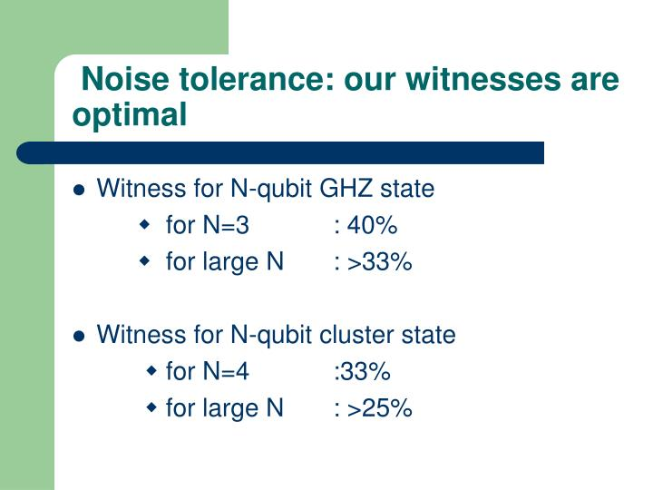 Noise tolerance: our witnesses are optimal