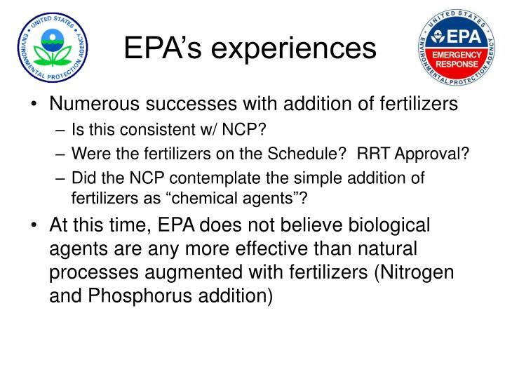 EPA's experiences