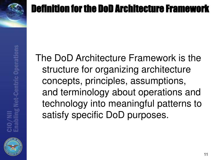 Definition for the DoD Architecture Framework