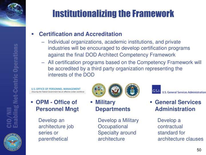 Institutionalizing the Framework