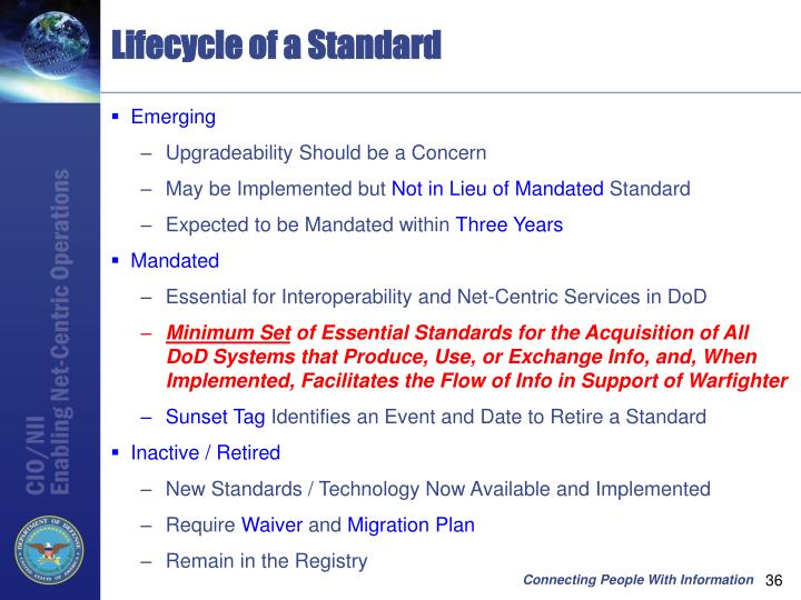Lifecycle of a Standard