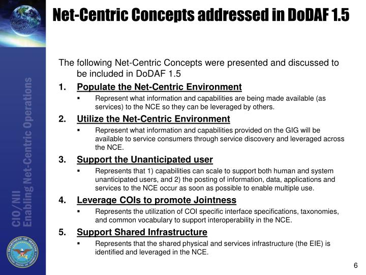 Net-Centric Concepts addressed in DoDAF 1.5
