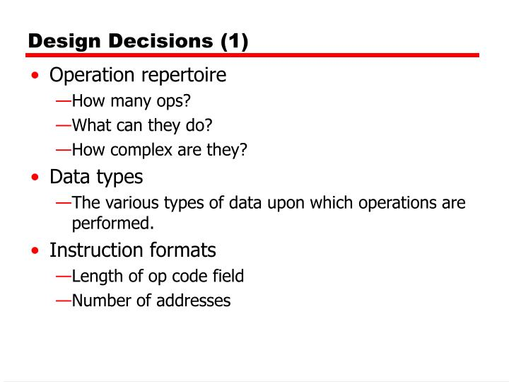 Design Decisions (1)