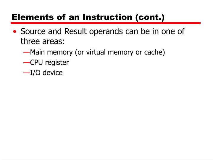 Elements of an Instruction (cont.)
