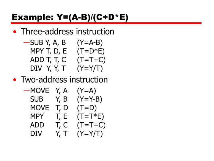 Example: Y=(A-B)/(C+D*E)