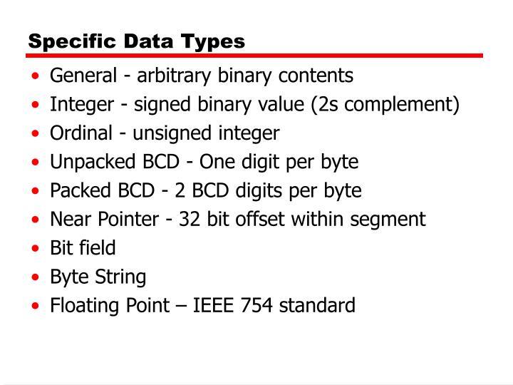Specific Data Types