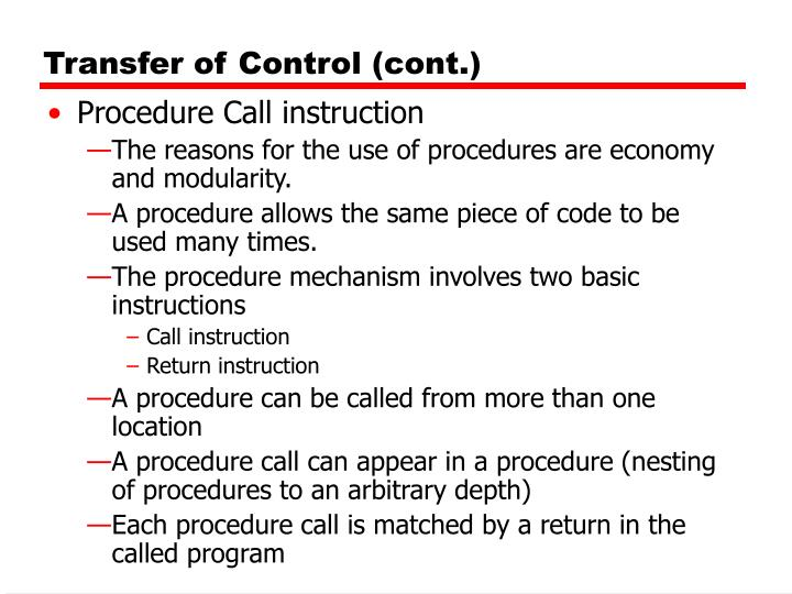 Transfer of Control (cont.)