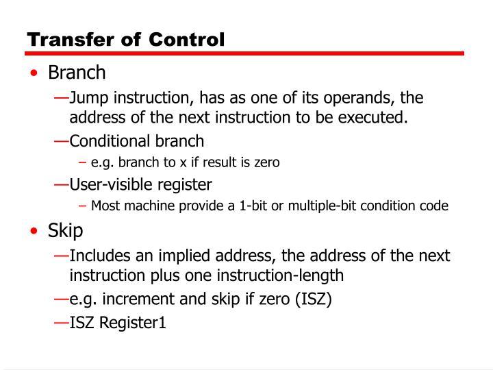 Transfer of Control