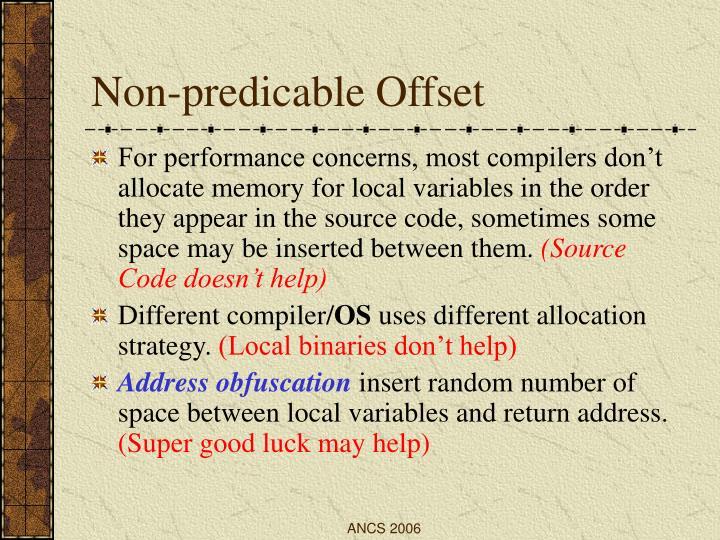 Non-predicable Offset