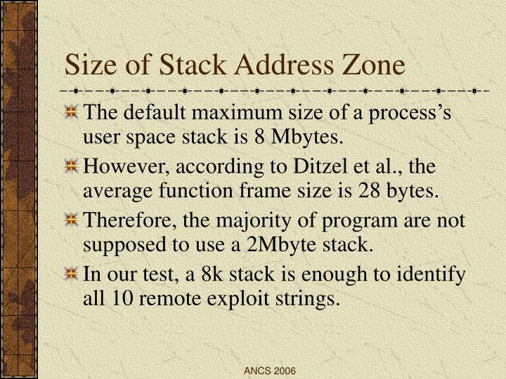 Size of Stack Address Zone
