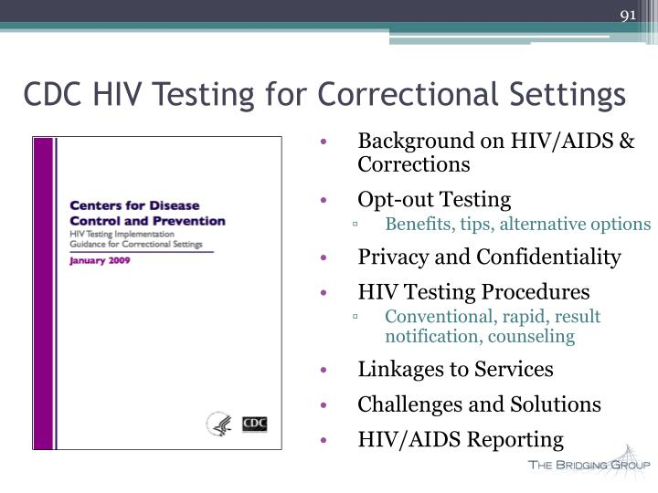 CDC HIV Testing for Correctional Settings