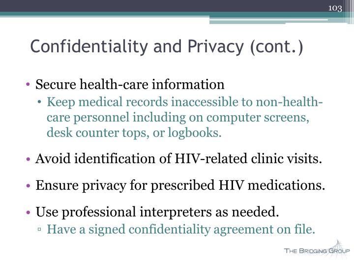 Confidentiality and Privacy (cont.)