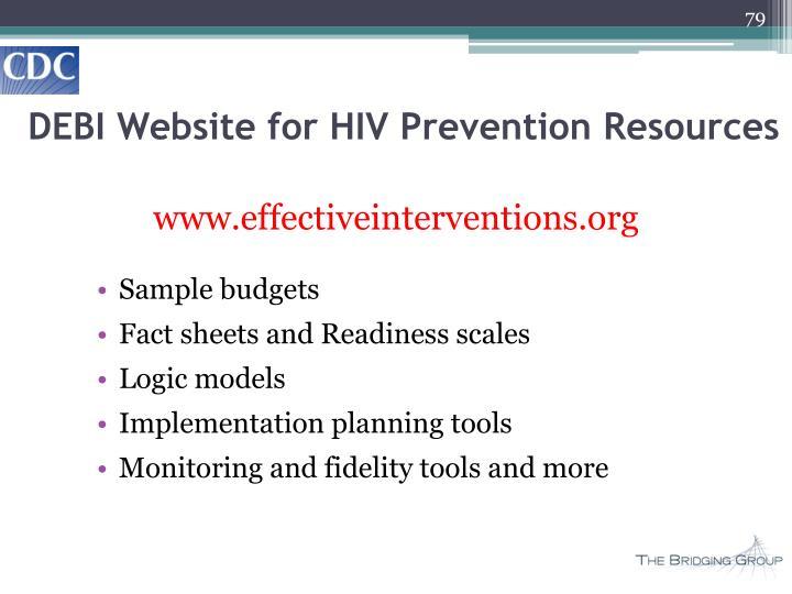 DEBI Website for HIV Prevention Resources