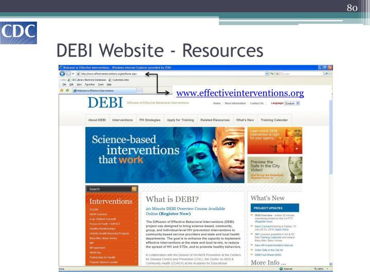 DEBI Website - Resources