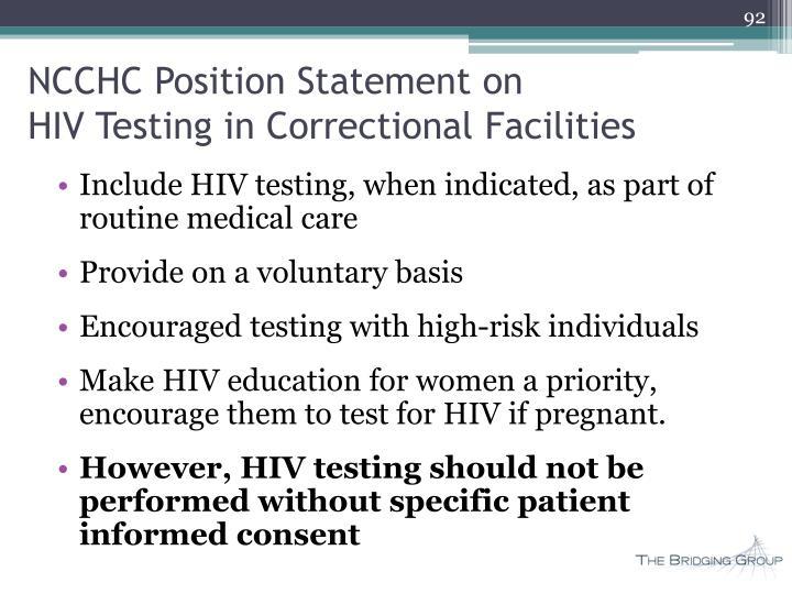 NCCHC Position Statement on