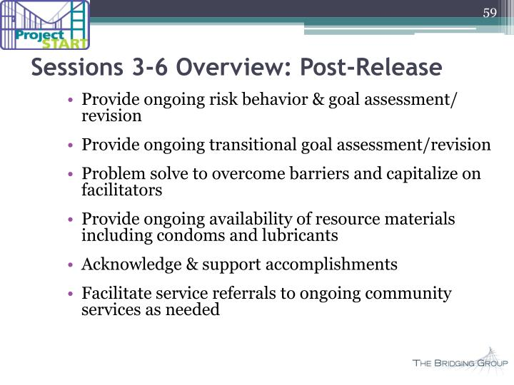 Sessions 3-6 Overview: Post-Release