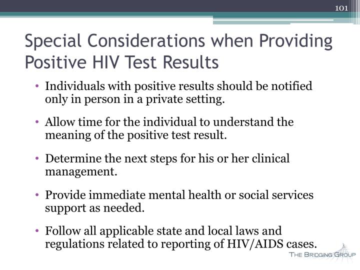 Special Considerations when Providing Positive HIV Test Results