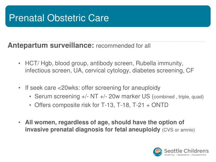 Prenatal Obstetric Care
