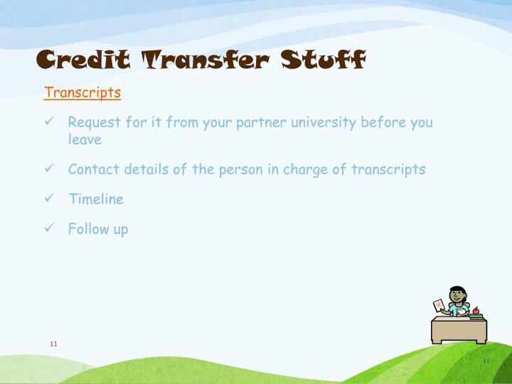 Credit Transfer Stuff