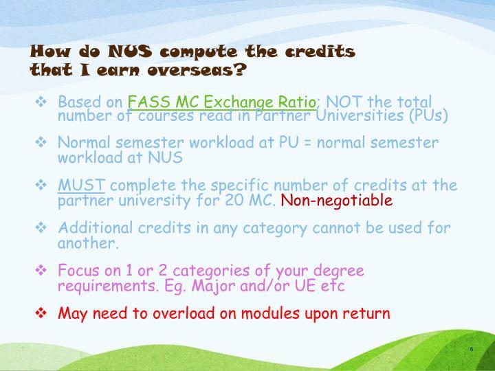How do NUS compute the credits that I earn overseas?