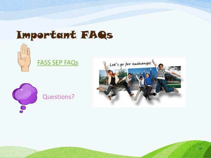 Important FAQs