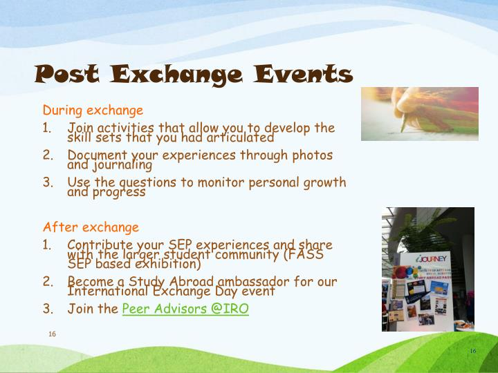 Post Exchange Events