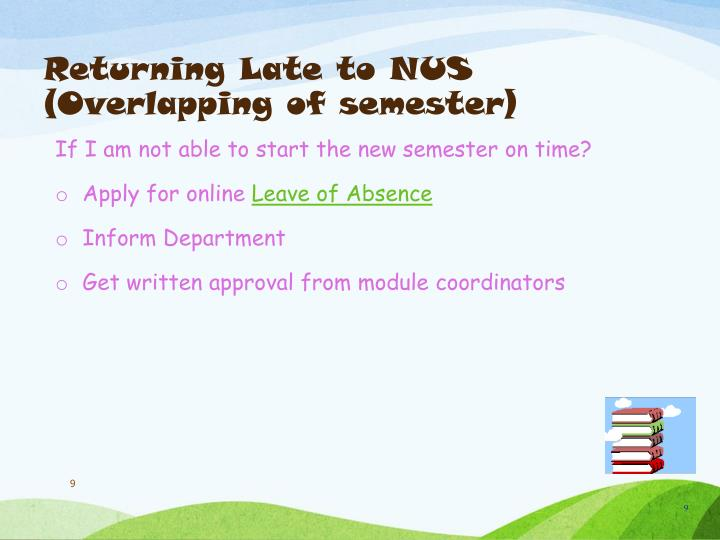 Returning Late to NUS (Overlapping of semester)