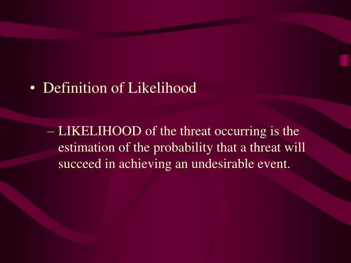 Definition of Likelihood