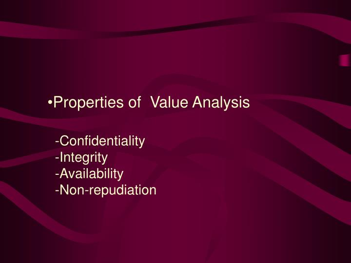Properties of  Value Analysis