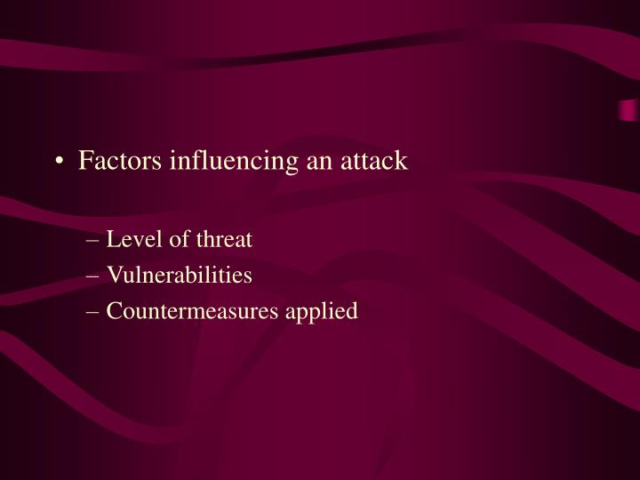 Factors influencing an attack