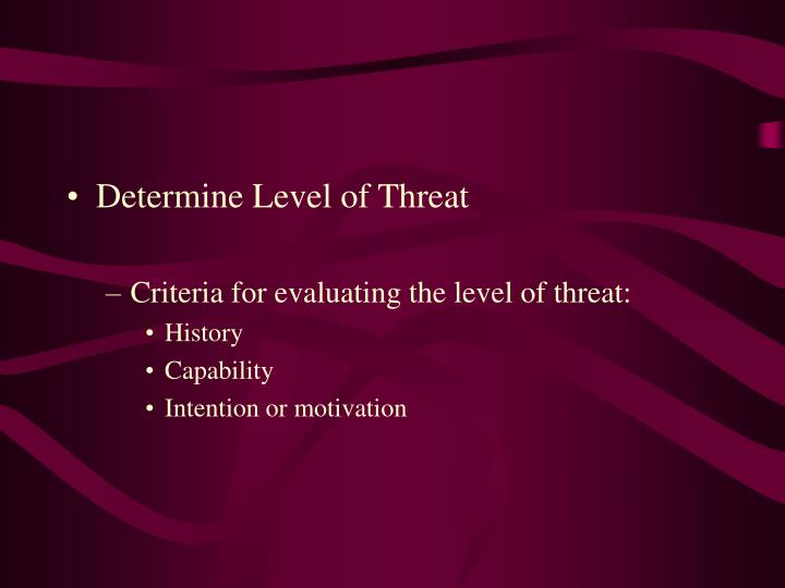 Determine Level of Threat