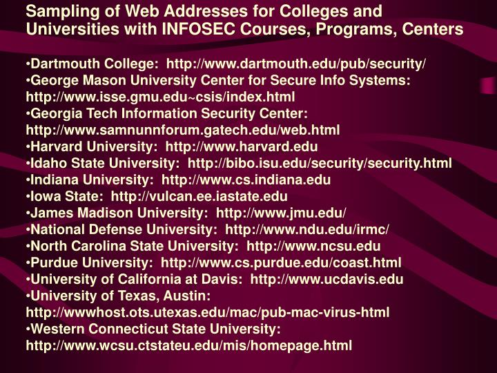 Sampling of Web Addresses for Colleges and Universities with INFOSEC Courses, Programs, Centers