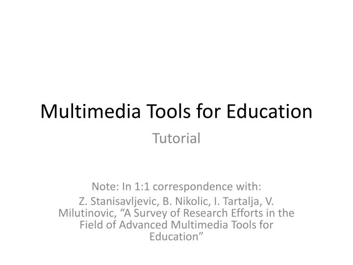 multimedia tools for education n.