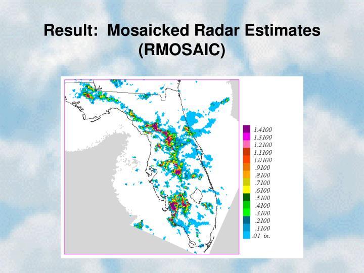 Result:  Mosaicked Radar Estimates (RMOSAIC)