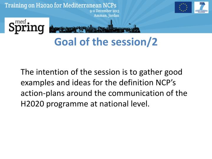 Goal of the session/2