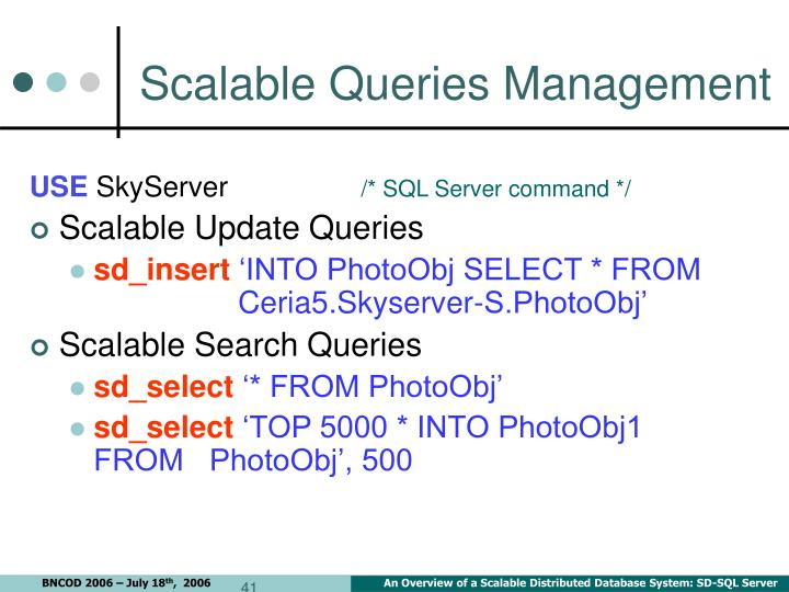 Scalable Queries Management