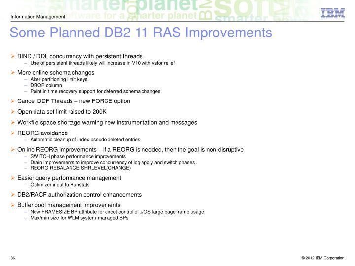 Some Planned DB2 11 RAS Improvements