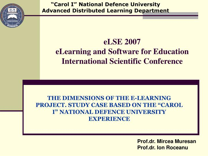 else 2007 elearning and software for education international scientific conference