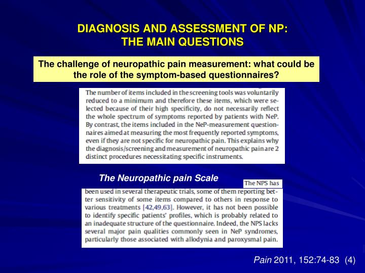 DIAGNOSIS AND ASSESSMENT OF NP: