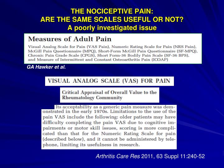 THE NOCICEPTIVE PAIN: