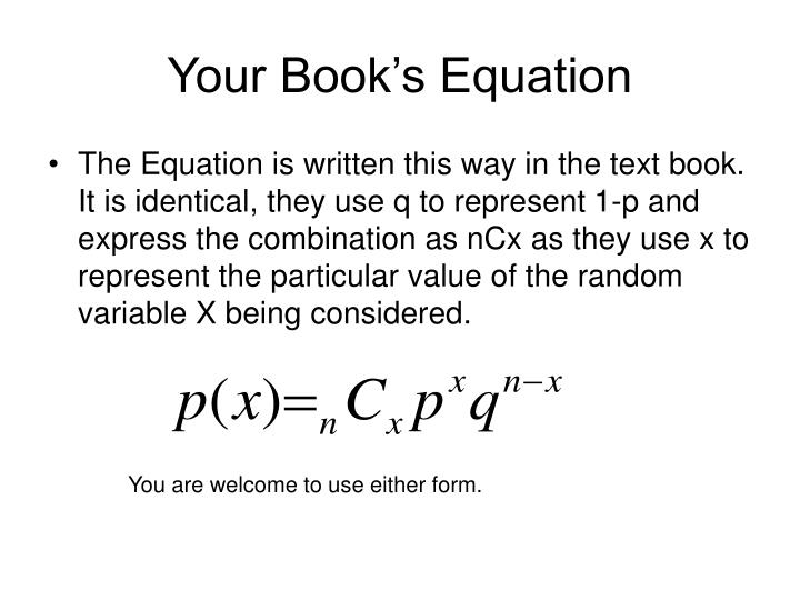 Your Book's Equation
