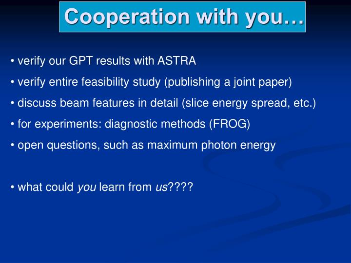 Cooperation with you…