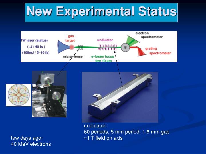 New Experimental Status