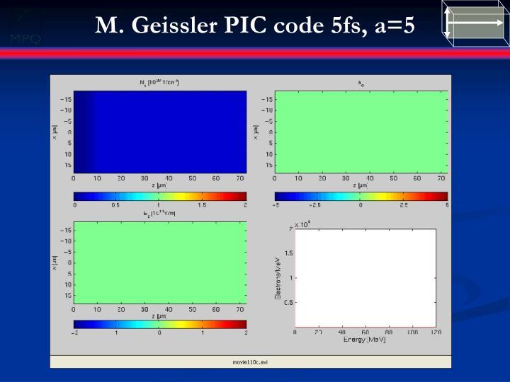 M. Geissler PIC code 5fs,